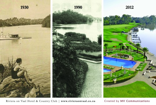 The River bend over the years as seen from the Riviera on Vaal Hotel