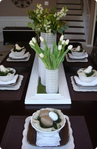 White Easter table decorations