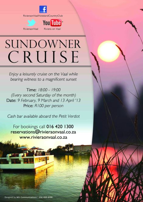 Sundowner Cruise on the Vaal River