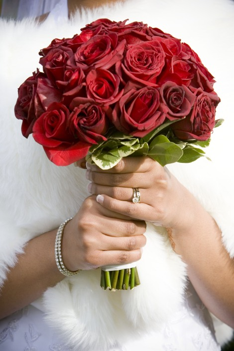 Romantic Winter Wedding with Red Flowers