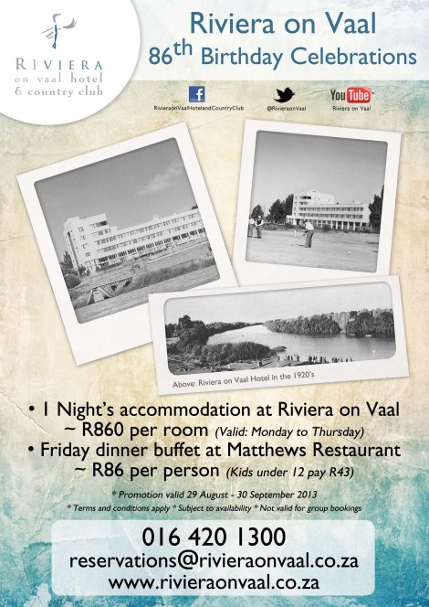 The Riviera on Vaal Hotel & Country Club celebrates its 86th Birthday